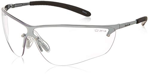 Bollé safety 253-SM-40073 Silium glasses with Silver Metal + TPE partially rimless frame and clear lens