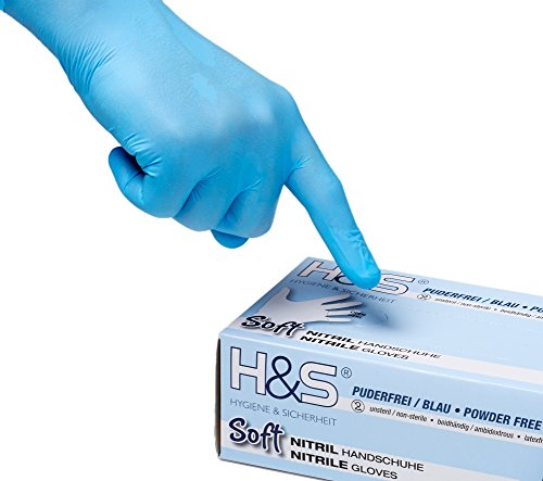 100 ISC H&S Nitrile Gloves, powder free, in Small, Medium, Large, and X-Large.  Disposable, latex free, powder free, they are ideal for food handling.  (L, blue)